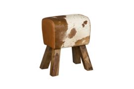 KM12657 Stoel , wit met bruin koeienhuid