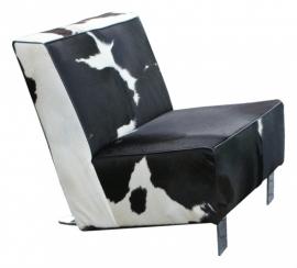 Ferox Loveseat, in zwartwit koeienhuid