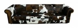 Bertha 4-zitsbank, in bruin koeienhuid