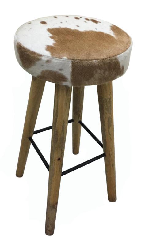 AS1270T barkruk - bruin met wit koeienhuid