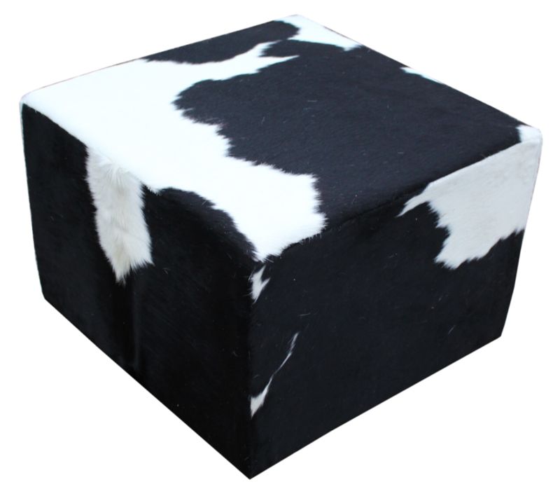 Poef , koeienhuid zwartwit, afm. 75x75x45cm
