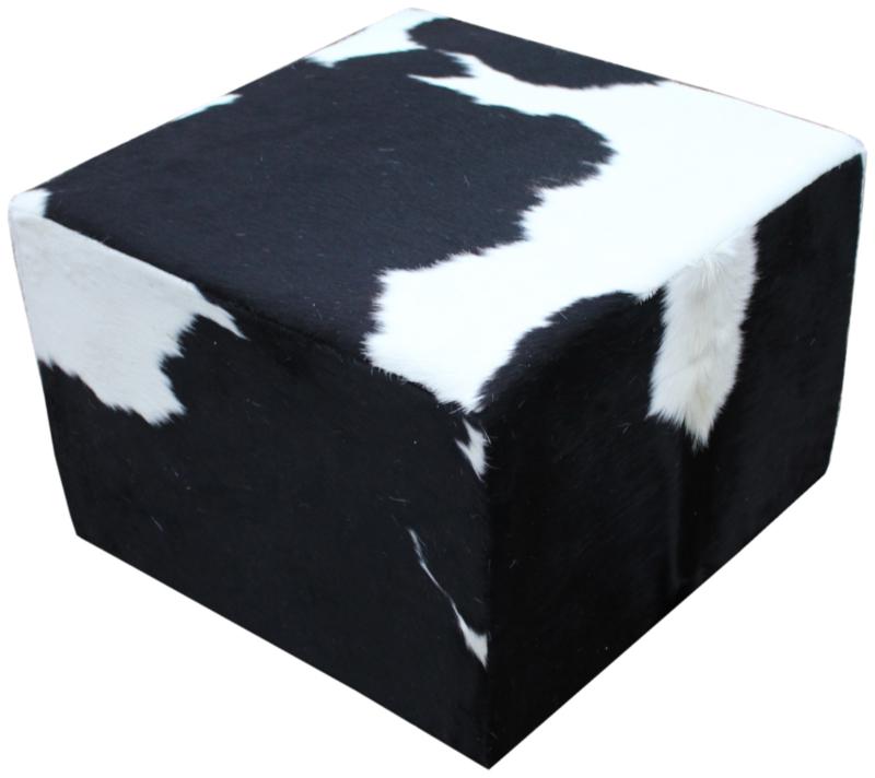 Poef , koeienhuid zwartwit, afm. 100x100x45cm