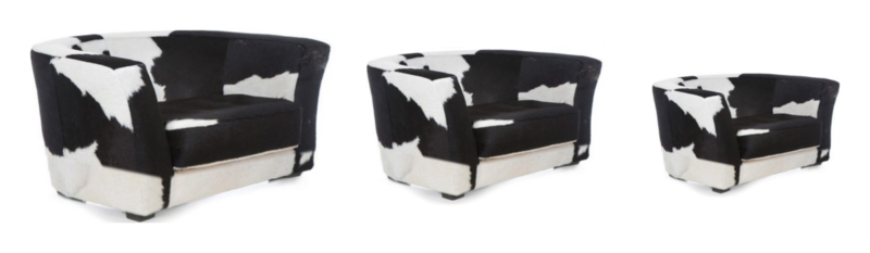 Berni hondebank, in zwart/wit koeienhuid, LARGE