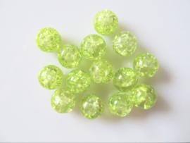 Glaskraal crackle licht lime 8-8.5 mm