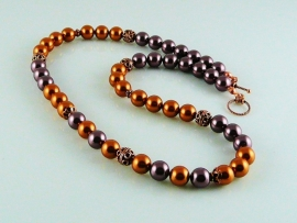 "Ketting ""Copper Swarovski"""
