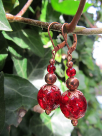 """Oorbellen """"Copper Crackle Red"""""""