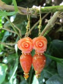 """Oorbellen """"Orange Jade Rose"""""""