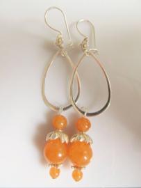 "Oorbellen ""Aventurine Orange Flower"""