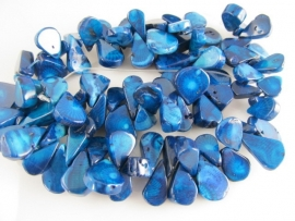 Fossielkoraal blauwe druppel kraal 17-22 mm