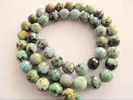Turquoise afrikaans ronde kraal facet 8 mm