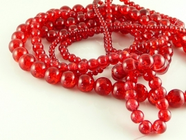 Crackle glaskraal rood