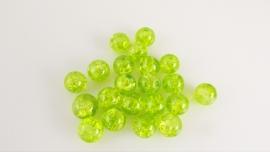 Groene glaskraal crackle rond 6-6.5 mm