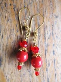 """Oorbellen """"Gold Red Coral"""""""