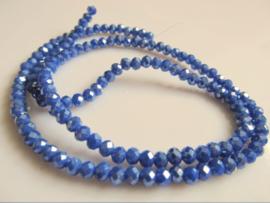 Kristalglas facet rondel kraal blauw mettalic 3.5x4.2 mm