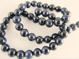 Goudsteen blauw ronde kraal 8 mm