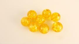 Ronde glaskraal crackle geel 8.5 mm