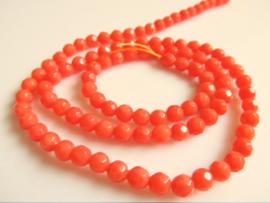 Koraal facet kraal oranje-roze 4.5 mm