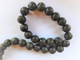 Lava kraal zwart rond 12.3-12.5 mm