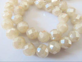 Kristalglas facet ronde kraal donker beige 10 mm