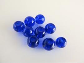 Blauwe glaskraal rondel 6x5.2 mm