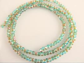 Kristalglas rondel facet kraaltje blauw-groen AB 2x3 mm