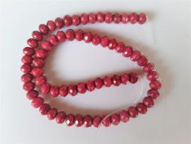 Jade rondel facet kraal robijnrood 5.4-5.7x7.5-7.8 mm