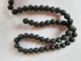 Lava zwart ronde kraal 8.5 mm