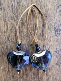 "Oorbellen ""Blue Crystal Heart"""