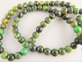 Turkoois ronde kraal groen 6 mm
