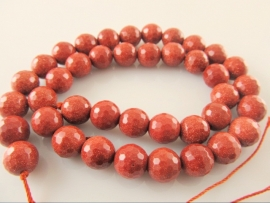 Goudsteen ronde kraal microfacet 10 mm