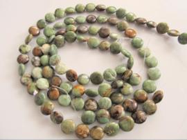 Opaal muntkraal groen-bruin 12 mm
