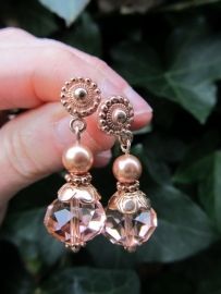 "Oorbellen ""Rose Gold Crystal"""