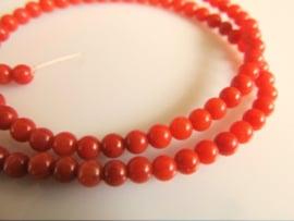 Bloedkoraal kraal rond oranje-rood 3.2-3.5 mm