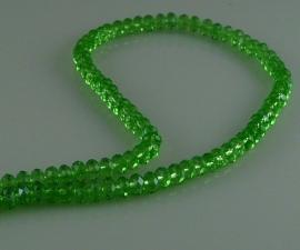 Kristalglas rondel kraal facet groen 4x6 mm