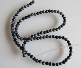 Obsidiaan sneeuwvlok ronde kraal  4.2-4.5 mm