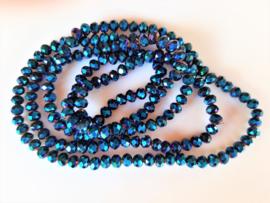 Kristalglas rondel kraal donkerblauw mettalic AB 4.7-5x6 mm