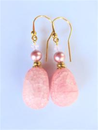 """Oorbellen """"Pink Nugget"""""""