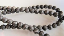 Fossielagaat kraal grijs-zwart rond 6 mm