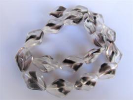 Glaskraal twist clear zwart-wit 19x13 mm
