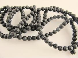 Lava zwart ronde  6 mm