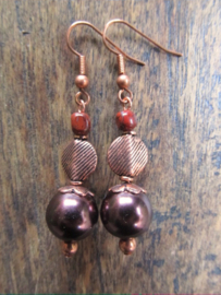 "Oorbellen ""Copper Brown Pearl"""