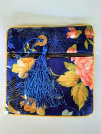 Tasje Chinese zijde  met rits 11.5x11.5 mm