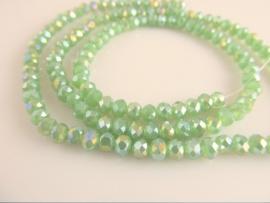 Kristalglas facet rondel kraal zachtgroen AB  3.5x4.5 mm