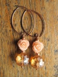 """Oorbellen """"Rosegold Rose"""""""