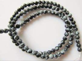 Obsidiaan sneeuwvlok ronde kraal 4 mm