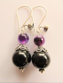 """Oorbellen  """"Black with Purple"""""""