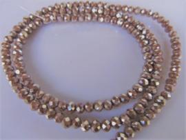 Kristalglas rondel facet kraal bruin mettalic 3x4.2 mm