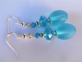 """Oorbellen """"Turquoise Glass"""""""