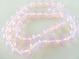 Opaliet lichtroze ronde kraal facet 9.5 mm