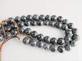 Jade grave kraal donkergrijs 8 mm
